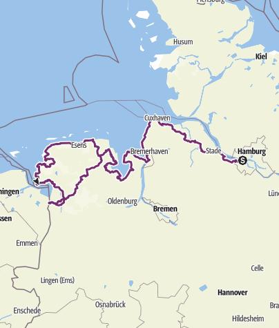 Karte / Nordseeküsten-Radweg: Teilstück von Cuxhaven bis Finkenwerder