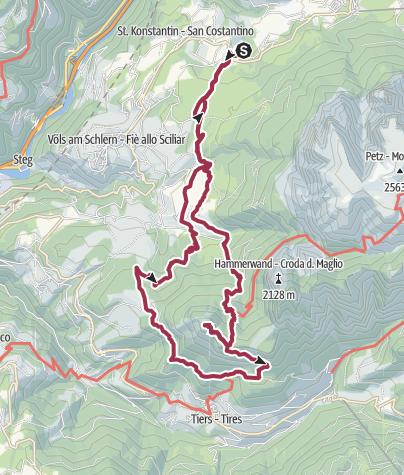 Map / Vom Camping Seiser Alm auf die Vordere Völseggspitze