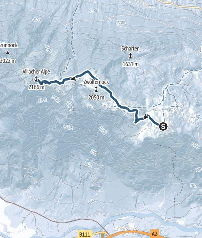 Karte / Skitour im Naturpark Dobratsch - Von der Rosstratte auf den Gipfel des Dobratsch