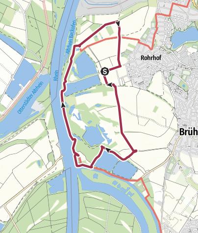 Mapa / Lebensader Oberrhein: Rundweg durch die Schwetzinger Wiesen und Riedwiesen