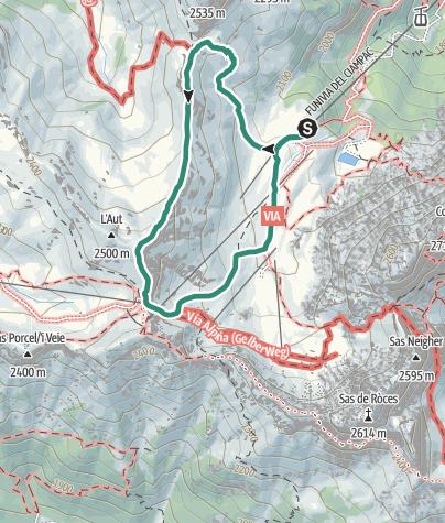 Karte / Ringstrecke Schutzhütte Ciampac, Su L'Aut, Sella Brunech