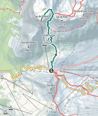 Map / Hike to Rifugio Maria al Sass Pordoi