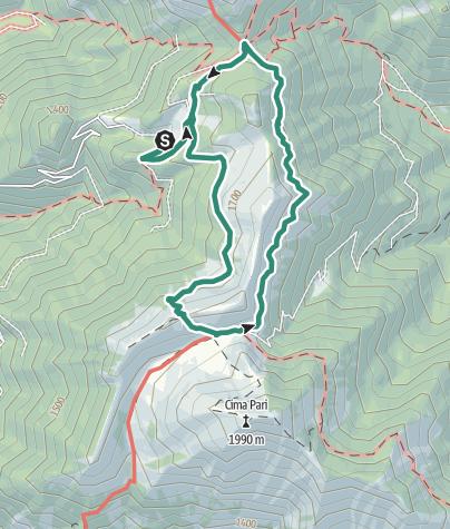 Karte / Ringstrecke Bocca Saval, Rifugio Pernici