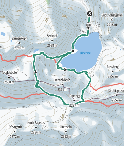 Map /  Over the Gamsluggen to Totalphütte | Brand