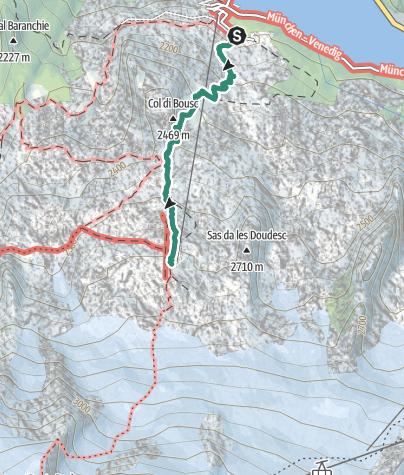 Map / Hike from Rifugio Capanna Cima Undici to Pian dei Fiacconi