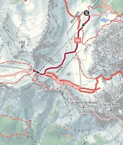 Cartina / Passeggiata Rifugio Tobià del Giagher - Sella Brunech