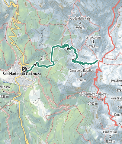 Map / Hike to the Rifugio Giovanni Pedrotti alla Rosetta