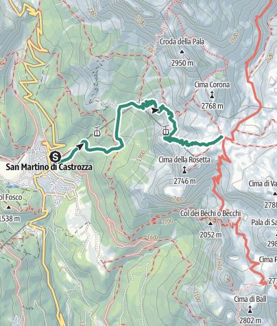 Map / Hike to the Rifugio Giovanni Pedrotti alla Rosetta
