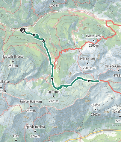 Map / Hike to Rifugio Passo delle Selle Bergvagabunden Hütte