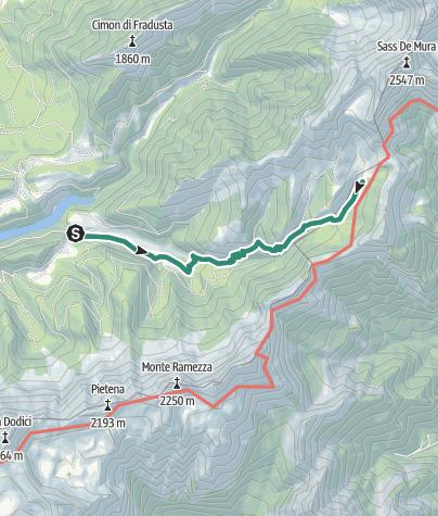 Karte / Wanderung  Schutzhütte Fonteghi - Schutzhütte Boz