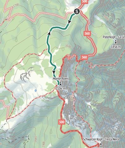 Karte / Wanderung von der Schutzhütte Malga di Romeno zum Monte Roen