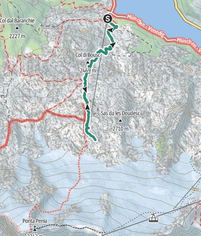 Karte / Wanderung zur Schutzhütte Ghiacciaio Marmolada