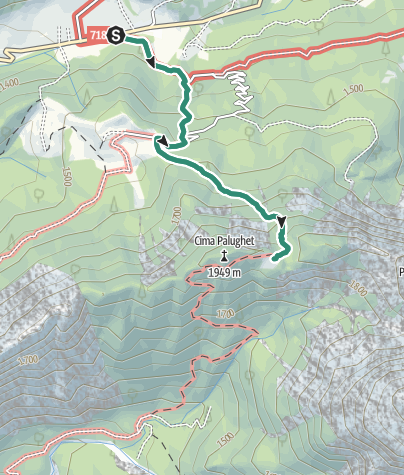 Map / Hike from Rifugio Cereda to Passo del Palughet