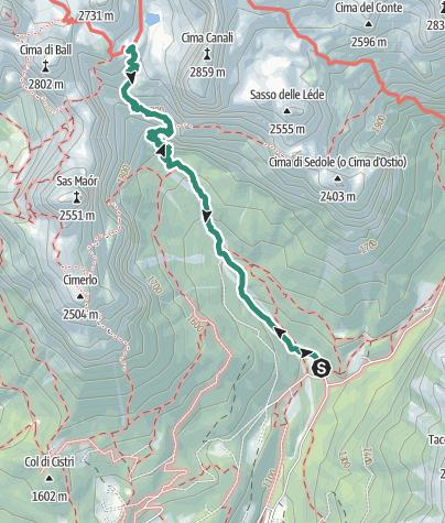Karte / Wanderung zur Schutzhütte Pradidali