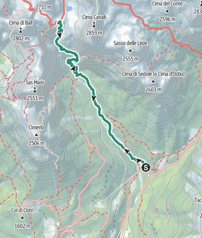 Map / Hike to the Rifugio Pradidali