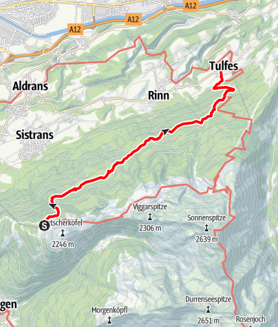 Karte / Vier-Almen Wanderung - Almweg 1600 entlang des Patscherkofels und Glungezer