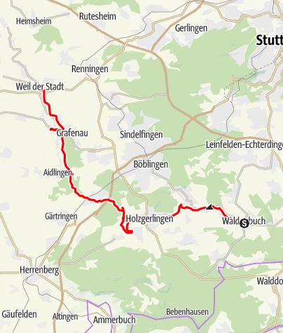 Karte / SCULPTOURA - Hauptroute (Waldenbuch - Weil der Stadt)