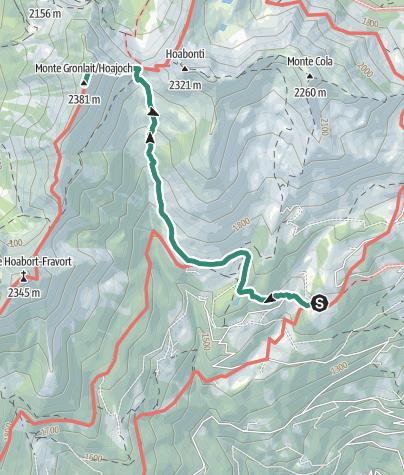Map / Hike from Rifugio Serot to Passo della Portela, Monte Gronlait