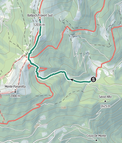 Map / Hike from Rifugio Erterle to Valico della Bassa to Monte Fravort