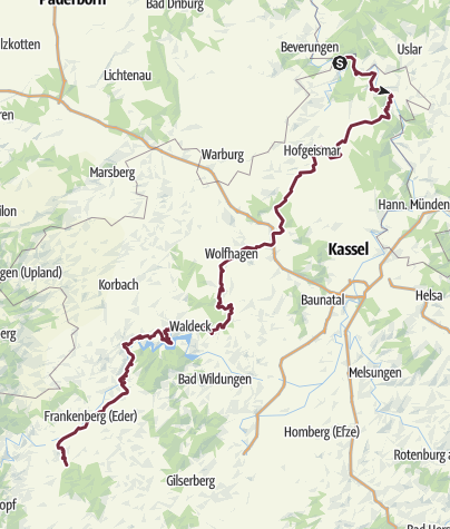 Karte / Hugenotten- und Waldenserpfad, Etappe Bad Karlshafen-Ernsthausen
