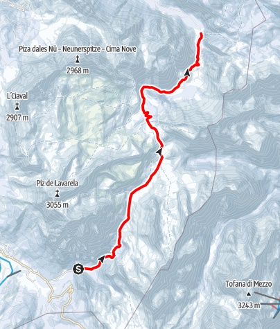 Map / Snowshoe hike from San Cassiano to the Fanes plateau