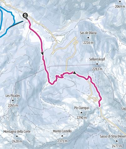 Map / Winter walk from San Cassiano to the Valparola Alp