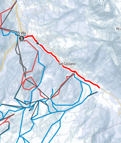 Cartina / Escursione invernale sul sentiero degli artisti da La Villa a San Cassiano