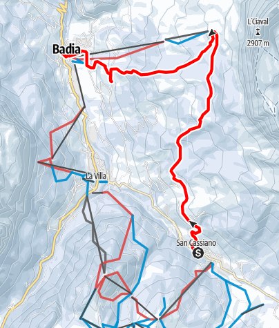 Map / Excursion with snowshoes from San Cassiano to Sas dla Crusc/Santa Croce and Badia