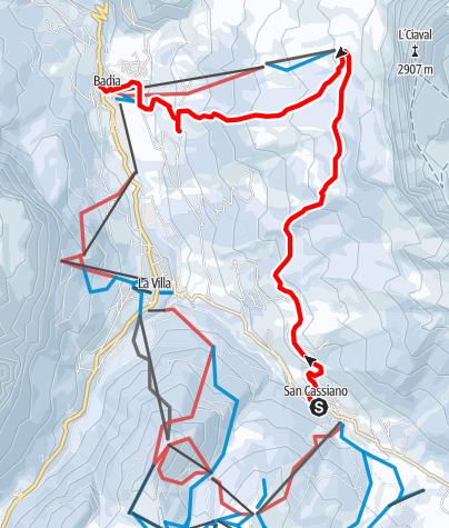 Karte / Schneeschuhwanderung von San Cassiano nach Badia über Heilig Kreuz