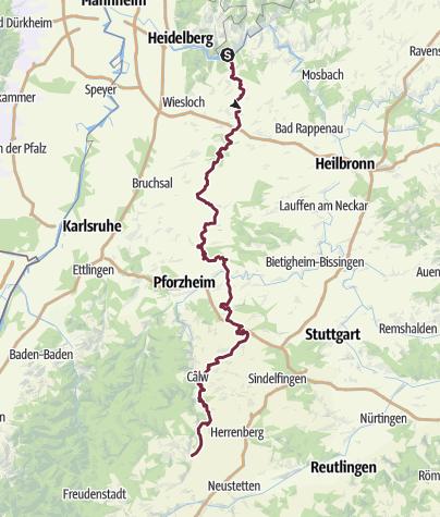 Karte / Hugenotten- und Waldenserpfad, Etappe Neckarsteinach-Nagold