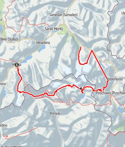 Kaart /  Bernina Bellavista (huttentocht met gletsjeroversteek)
