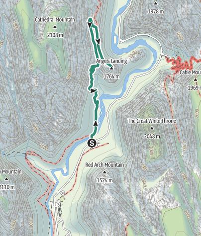 Karte / Angels Landing Trail im Zion Nationalpark