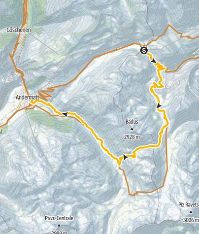 Map / Oberalppass -Lolenpass-Andermatt