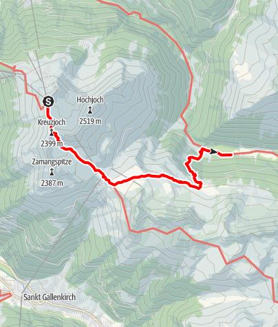 Karte / Vom Hochjoch über die Alpguesalpe ins Silbertal