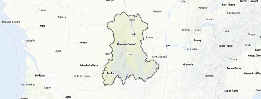 Mapa / Dálkové pochody v oblasti Auvergne