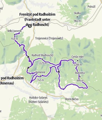 Mapa / Rock Point - Horská výzva 2018: Beskydy - LONG