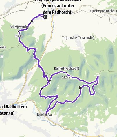 Mapa / Rock Point - Horská výzva 2018: Beskydy - HALF