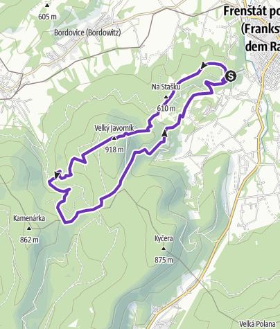 Mapa / Rock Point - Horská výzva 2017: Beskydy - SHORT