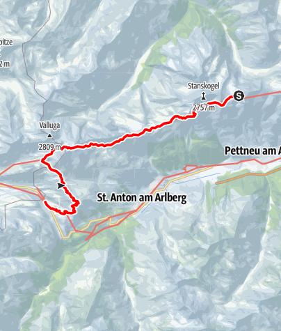 Karte / Adlerweg-Etappe 24: Kaiserjochhaus - St. Christoph am Arlberg