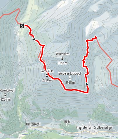 Karte / Adlerweg - Etappe O2: Johannishütte - Eisseehütte