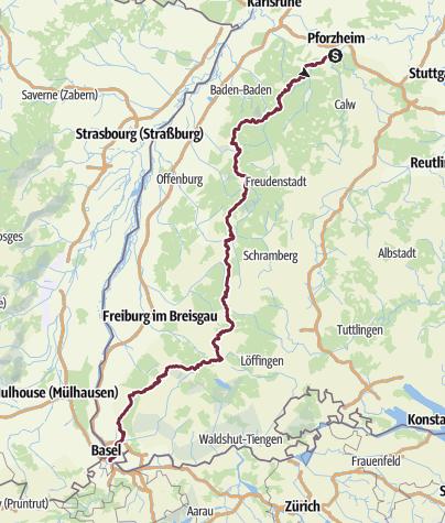 Map / Westweg von Pforzheim nach Basel