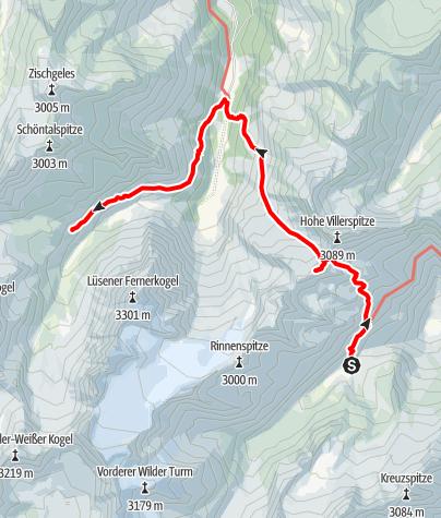 Karte / Übergang Stubaier Höhenweg - Sellrainer Hüttenrunde: Franz-Senn-Hütte - Westfalenhaus