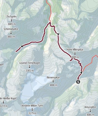 Map / Übergang Stubaier Höhenweg - Sellrainer Hüttenrunde: Franz-Senn-Hütte - Westfalenhaus