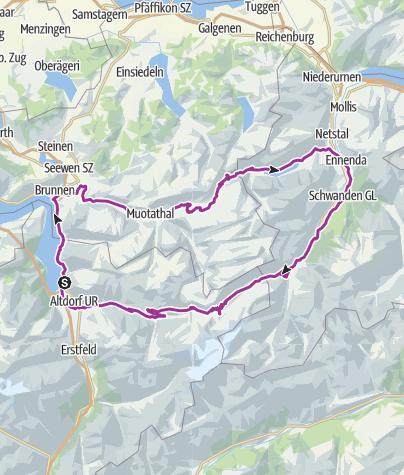 Karte / Radtour Pragel - Klausenpass