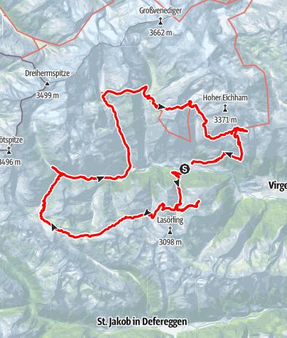Kaart / Hoog boven het Virgental gezinstocht 8-14 jaar