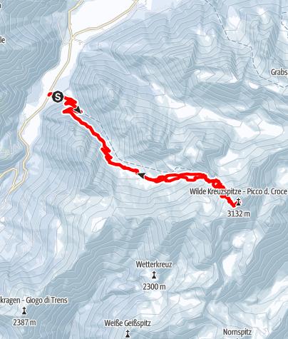 Karte / Wilde Kreuzspitze (3.192m) - Höchster Gipfel der Pfunderer Berge