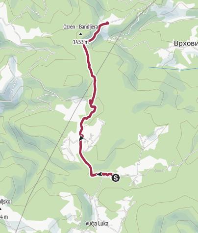 Map / from Vukov Konak to Ozren and back