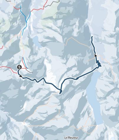 Karte / Haute Route - Etappe 2: Verbier - Cab. de Prafleuri - Val d'Hérémence