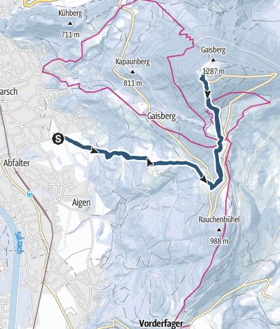 Map / Gaisberg (1.287 m) - Skitour mit Start in der Stadt Salzburg