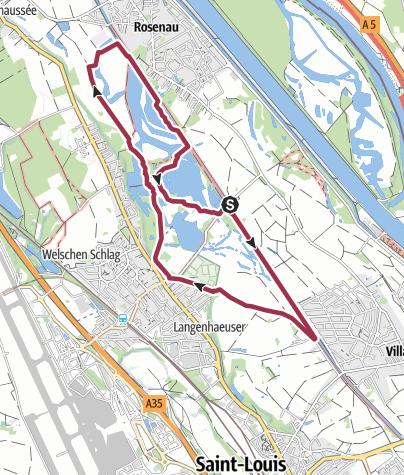 Karte / Auf Pfaden der Petite Camargue Alsacienne - Drei-Auen Rundgang